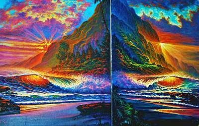 Painting - Napali Cliff's Sunset - Diptych by Joseph   Ruff