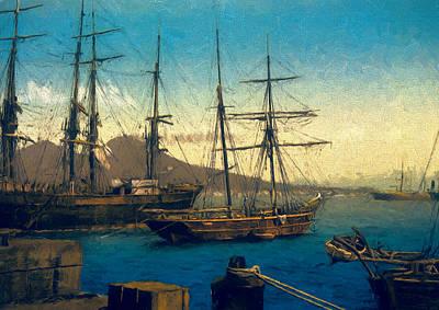 History Painting - Naples' Harbor by John K Woodruff