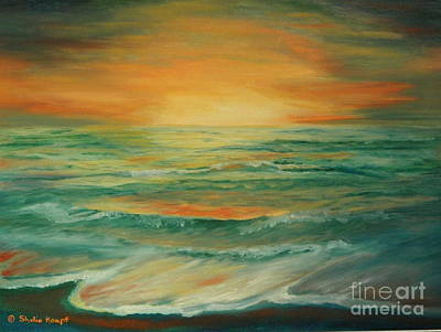 Art Print featuring the painting Naples Mystical Sunset by Shelia Kempf