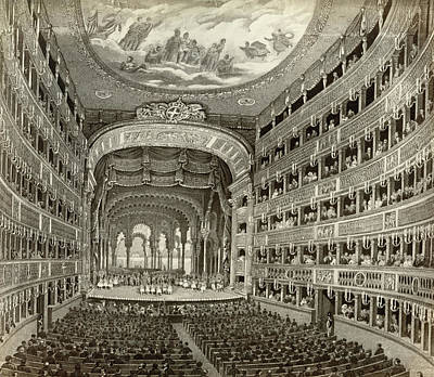 Turn Of The Century Drawing - Naples Opera House by Granger