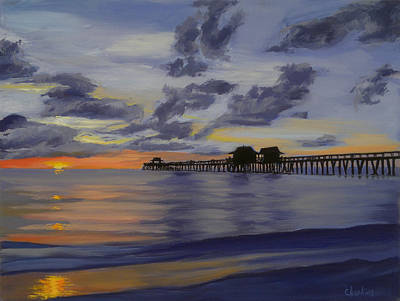 Mexico People Painting - Naples Pier Naples Florida by Christine Hopkins