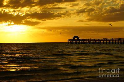 Beach Photograph - Naples Pier Sunset by Tina Stoffel