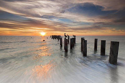 Naples Beach Wall Art - Photograph - Naples Sunset by Mike Lang