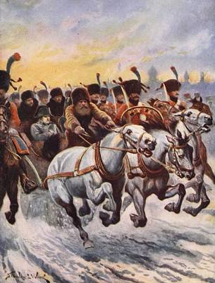 French Defeat Drawing - Napoleon At The Retreat From Moscow by Stanley L. Wood
