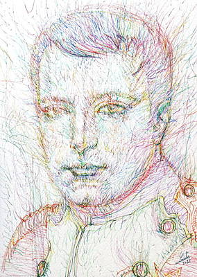 Napoleon Bonaparte Drawing - Napoleon Bonaparte - Colored Pens Portrait by Fabrizio Cassetta