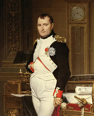 Famous Book Painting - Napoleon Bonaparte In His Study by Jacques Louis David