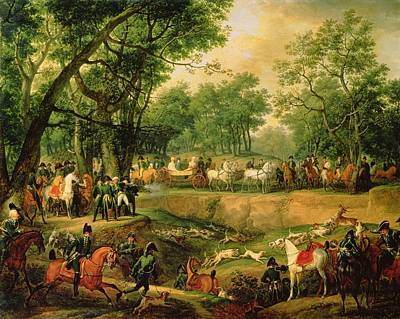 Horse And Carriage Photograph - Napoleon On A Hunt In The Compiegne Forest, 1811 Oil On Canvas by Antoine Charles Horace Vernet