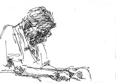 Sketch Drawing - Napping At Waiting Room by Ylli Haruni
