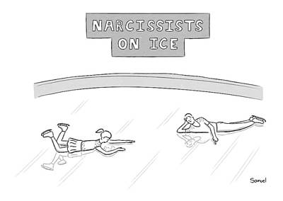 Skate Drawing - Narcissists On Ice -- Two Figure Skaters Stare by Jacob Samuel