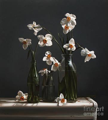 Narcissus And Bottles Art Print by Larry Preston