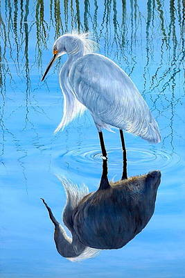 Egret Painting - Narcissus by AnnaJo Vahle
