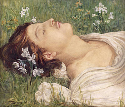 Narcissus Print by Helen Thornycroft