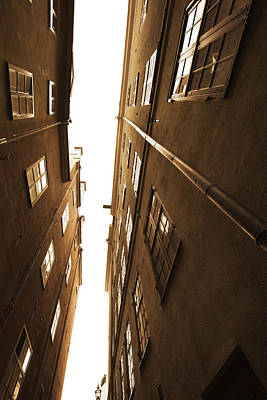 Narrow Alley Seen From Below - Sepia Art Print by Ulrich Kunst And Bettina Scheidulin