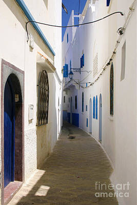 Narrow Backstreet In The Medina Of Asilah On Northwest Tip Of Atlantic Coast Of Morocco Art Print by PIXELS  XPOSED Ralph A Ledergerber Photography