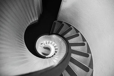 Photograph - Narrow Circular Staircase Abstract by Art Wager