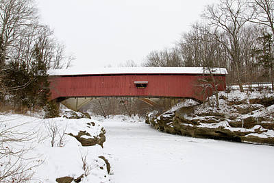 Indiana Winters Photograph - Narrow Covered Bridge In Winter, Turkey by Panoramic Images