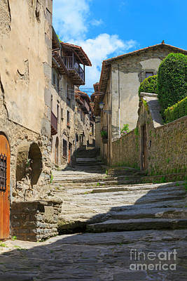 Girona Photograph - Narrow Lane In The Medieval Town Of Rupit In Catalonia by Louise Heusinkveld