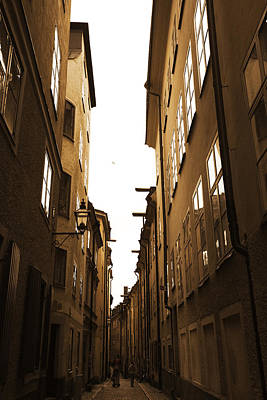 Narrow Medieval Street - Monochrome Art Print by Ulrich Kunst And Bettina Scheidulin