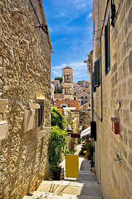 Photograph - Narrow Stone Street In Town Of Hvar by Brch Photography