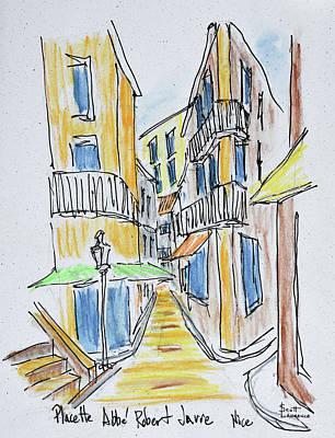Narrow Streets Along Placette Abbe Art Print