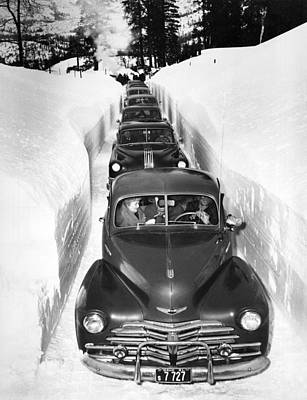 Snow Drifts Photograph - Narrow Winter Road by Underwood Archives