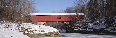 Indiana Winters Photograph - Narrows Covered Bridge Turkey Run State by Panoramic Images