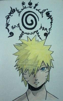 Naruto Drawing - Naruto And The Curse Mark Colour by Hiranya Gogoi