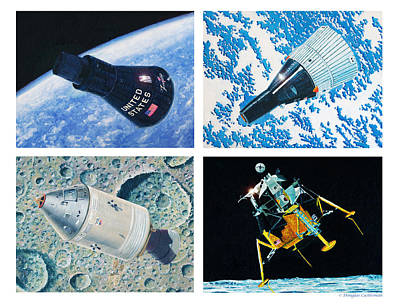 Painting - Nasa Manned Spacecraft Of The 1960's. by Douglas Castleman