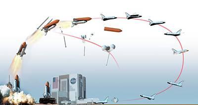 Nasa Space Shuttle Mission Flight Path Art Print