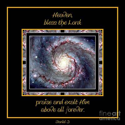 Astronomy Photograph - Nasa Whirlpool Galaxy Heaven Bless The Lord Praise And Exalt Him Above All Forever by Rose Santuci-Sofranko