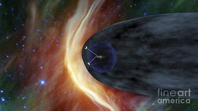 Nasas Two Voyager Spacecraft Exploring Art Print