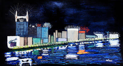 Nashville Skyline Painting - Nashville At Night by Maura Satchell