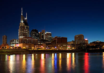 Photograph - Nashville At Night by Melinda Fawver