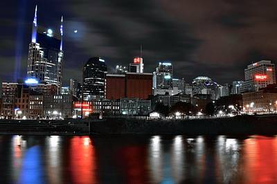 Downtown Nashville Photograph - Nashville Dark Knight by Frozen in Time Fine Art Photography