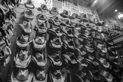Photograph - Nashville Hats Black And White by John McGraw