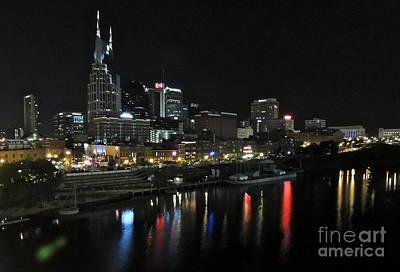 Photograph - Nashville Night Skyline by Eve Spring
