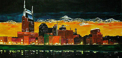 Nashville Skyline Painting - Nashville Night by Vickie Warner