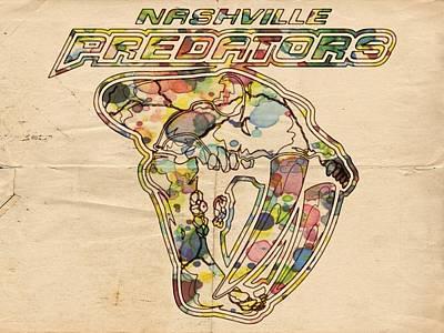 Nhl Painting - Nashville Predators Retro Poster by Florian Rodarte