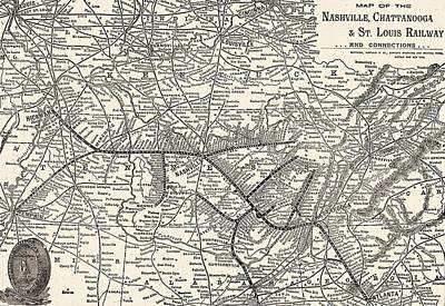 St. Louis Mixed Media - Nashville Railway Map Vintage by Dan Sproul