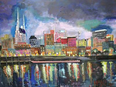 Nashville Skyline Painting - Nashville Reflections  by MayLill Tomlin