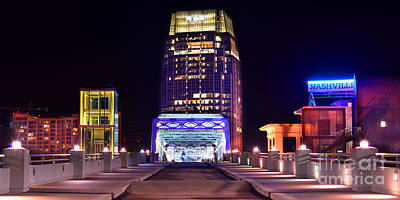 Nashville Downtown Photograph - Nashville Sight Night Skyline Pinnacle Panorama Color by Jon Holiday