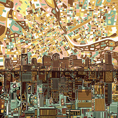 Painting - Nashville Skyline Abstract 4 by Bekim Art