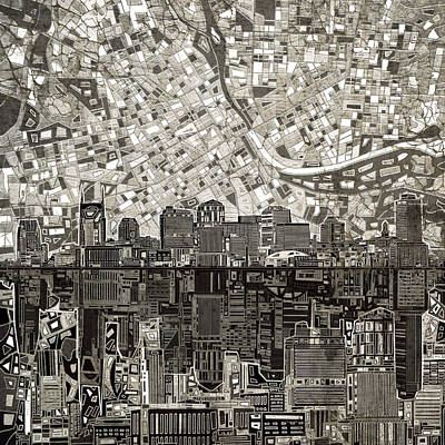 Painting - Nashville Skyline Abstract 5 by Bekim Art