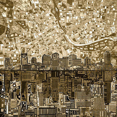 Abstract Digital Painting - Nashville Skyline Abstract 6 by Bekim Art