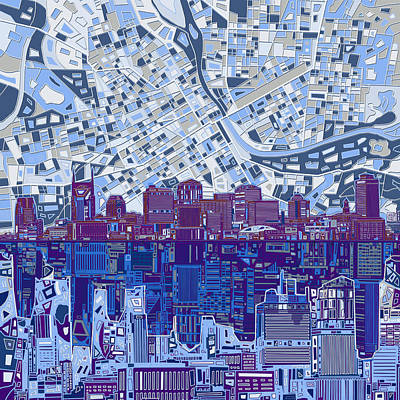 Tennessee Painting - Nashville Skyline Abstract 8 by Bekim Art