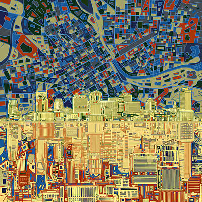 Tennessee Painting - Nashville Skyline Abstract 9 by Bekim Art