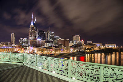 Nashville Skyline And Bridge Art Print by John McGraw
