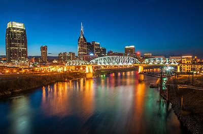 Framed Downtown Nashville Photograph - Nashville Skyline At Dusk by Devin Williams