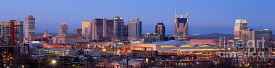 Downtown Nashville Photograph - Nashville Skyline At Dusk Panorama Color by Jon Holiday