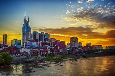 Nashville Skyline At Sunset Art Print by Dan Holland
